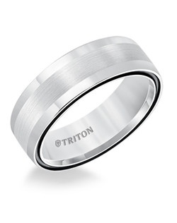7mm Dome White TungstenAIR Comfort Fit Band with Midnight Black Side Color Treatment