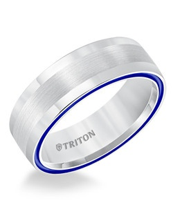 7mm Dome White TungstenAIR Comfort Fit Band with Electric Blue Side Color Treatment