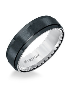 7mm Step Edge Black Titanium and Sterling Silver Comfort Fit Band with Pyramid Texture Side Treatment. Price listed is an estimate only.