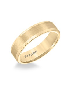 6mm Flat Yellow Tungsten Carbide Roll Edge Comfort Fit Band. Satin center, bright edge. Price listed is an estimate only.