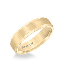 6mm Bevel Edge Yellow Tungsten Carbide Comfort Fit Band. Satin Center, Bright Bevels.