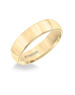 6mm Domed Yellow Tungsten Carbide Comfort Fit Band. Bright Polish.