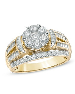 Ask your amazing woman for her hand with an equally amazing diamond engagement ring. Beautifully crafted warm 10K gold, this ring features a flower-shaped cluster of shimmering round diamonds at its center. A collar of channel-set baguette-cut accent diamonds flanks this center arrangement, while the ring's wide shank sparkles with round and baguette-cut diamonds. Radiant with 1-1/4 cts. t.w. of diamonds and finished with a bright polished shine, this ring is a captivating look of love. Price includes center stone and setting.