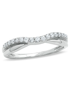 Symbolic of your romantic commitment, this 14K white gold wedding band will forever warm her heart. For a snug fit with her engagement ring, this design is slightly contoured at the center. While diamonds totaling 1/4 ct. cover half of the band, the opposing side shimmers with a polished finish. Surprise her with this beautiful style on your wedding day. Price includes center stone and setting.