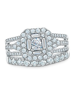 Honor your intended with a brilliant express of love: a Celebration 102® 1-1/4 ct. t.w. diamond engagement ring. Our exclusive diamond offers nearly twice the facets for substantially more sparkle. This 18K white gold ring showcases a Celebration 102® 1/3 ct. radiant-cut diamond center stone. A double border of round and baguette-cut diamonds frames the center stone, while additional accent diamonds line the triple shank. Every Celebration 102® diamond received excellent rankings for superior cut and color. Insuring authenticity and protection, each diamond is laser-inscribed with a certification number inside of the band. This ring comes with a certificate that includes a photo and a description of the diamond, which guarantees quality and can be used for insurance purposes. Price includes center stone and setting.