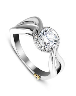 The Beloved engagement ring contains 1 diamonds, totaling 0.005 ctw. Shown with a 1ct center diamond. Center stone sold separately, not included in price. Available in yellow, white, or rose gold, and platinum. Rings can be custom made to fit any size or shape diamond or color center stone.
