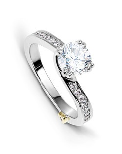 The Glimmer engagement ring contains 17 diamonds, totaling 0.245ctw. Center stone sold separately, not included in price. Available in yellow, white, or rose gold, and platinum. Rings can be custom made to fit any size or shape diamond or color center stone.