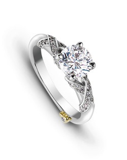 The Majestic engagement ring contains 45 diamonds, totaling 0.21ctw. Center stone sold separately, not included in price. Available in yellow, white, or rose gold, and platinum. Rings can be custom made to fit any size or shape diamond or color center stone.
