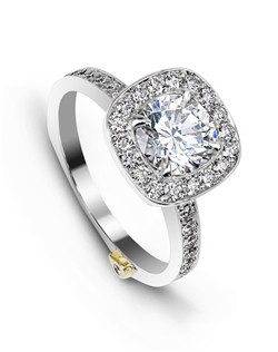 The Rhapsody engagement ring totals 0.59ctw. Center stone sold separately, not included in price. Available in yellow, white, or rose gold, and platinum. Rings can be custom made to fit any size or shape diamond or color center stone.
