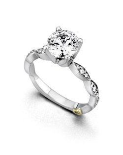 The Whisper engagement ring contains 21 diamonds, totaling 0.155ctw. Center stone sold separately, not included in price. Available in yellow, white, or rose gold, and platinum. Rings can be custom made to fit any size or shape diamond or color center stone.