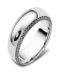 Based on 14K. The fit isCF, in size10.00, and the width is8 mm.  Available in Silver, 10K, 14K and 18K Gold, Palladium and Platinum. Gold price is based on 1215 gold.