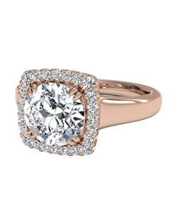 Cushion Cut French-Set Halo Diamond Engagement Ring in 18kt Rose Gold (0.13 CTW). Price excludes center stone.