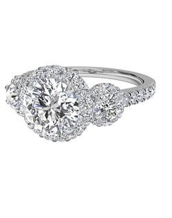 Three-Stone Halo Diamond Engagement Ring in Palladium (0.75 CTW). Price excludes center stone.