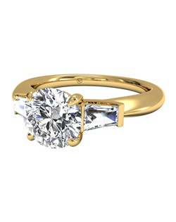 Tapered Baguette Diamond Engagement Ring in 18kt Yellow Gold (0.25 CTW). Price excludes center stone.