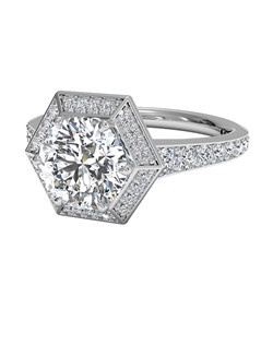 Vintage Hexagonal Halo Vaulted Diamond Band Engagement Ring in Palladium (0.35 CTW). Price excludes center stone.