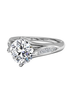 Vintage Tulip Diamond Band Engagement Ring in Platinum (0.08 CTW). Price excludes center stone.