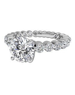 Shared-Prong Diamond Band Engagement Ring in Platinum (0.70 CTW). Price excludes center stone.