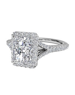 Radiant Cut French-Set Halo Diamond 'V' Band Engagement Ring in Platinum (0.23 CTW). Price excludes center stone.