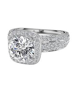 Masterwork Cushion Halo Triple Diamond Band Engagement Ring in 18kt White Gold (0.75 CTW). Price excludes center stone.