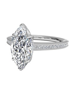 Micropavé Diamond Band Engagement Ring with Milgrain Finish in 18kt White Gold (0.20 CTW). Price excludes center stone.