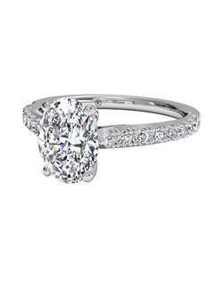 Oval Cut French-Set Diamond Band Engagement Ring in 14kt White Gold (0.23 CTW). Price excludes center stone.