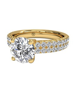 Double French-Set Diamond Band Engagement Ring in 18kt Yellow Gold (0.59 CTW). Price excludes center stone.
