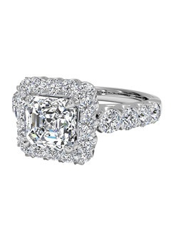 Asscher Cut Masterwork Halo Diamond Band Engagement Ring in 18kt White Gold (0.75 CTW). Price excludes center stone.