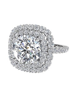 Double French-Set Halo Diamond Band Engagement Ring in Palladium (0.75 CTW). Price excludes center stone.