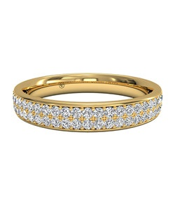 Women's Double Micropavé Wedding Band in 18kt Yellow Gold (0.25 CTW). Price includes center stone and setting.