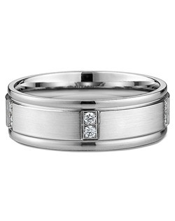 Men's Diamond & Satin-Finish Wedding Ring in Palladium. Price includes center stone and setting.