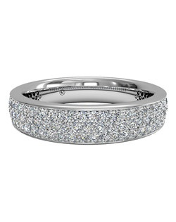 Women's Triple Micropavé Diamond Wedding Band in 18kt White Gold (0.70 CTW). Price includes center stone and setting.