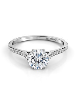 Platinum setting with .35tcw of diamonds in shank , center stone not inlcuded