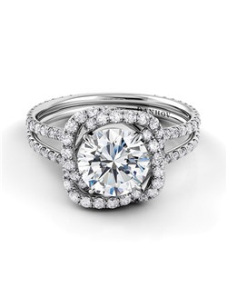 18k white gold setting with .65 tcw of diamonds, center stone not included
