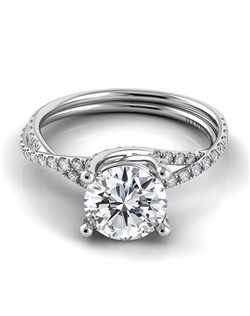 18k white gold split shank with .32tcw of diamonds in crisscross setting, center stone not included