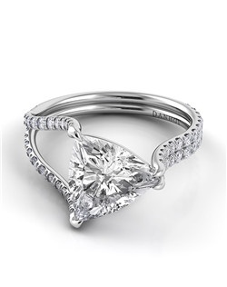 Platinum ring with 1-sided split shank and .5tcw of diamonds, center stone not included