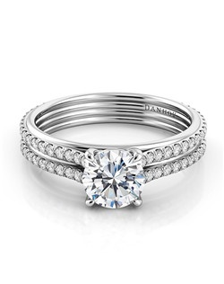 Platinum setting with  .29 tcwdiamonds  in shank, center diamond not included