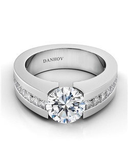 Platinum tension setting with diamonds inset in shank, center diamond not included