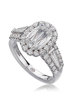 L'Amour Crisscut diamond engagement ring with Baguette sides and round diamonds set in 18K White Gold.