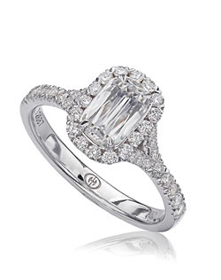 L'Amour Crisscut diamond engagement ring with round diamonds set in 18K White Gold. Price excludes center stone