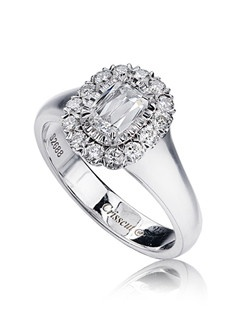L'Amour Crisscut diamond engagement ring with round diamonds set in 18K White Gold.