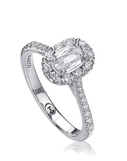 L'Amour Crisscut diamond engagement ring with round diamonds set in 18K White Gold. Price includes center stone and setting
