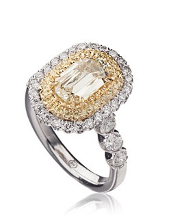 L'Amour Crisscut diamond engagement ring with white and yellow round diamonds set in 18K White/Yellow Gold.