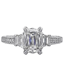 Christopher Designs engagement ring with Crisscut Emerald diamond center and Fancy Cut side diamonds surrounded by round diamonds set in 18K White Gold.