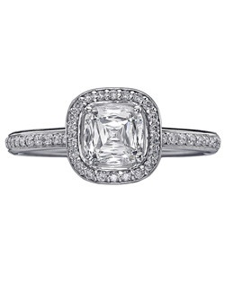 Christopher Designs engagement ring with Crisscut Cushion diamond surrounded by round diamonds set in 18K White Gold. Price excludes center stone