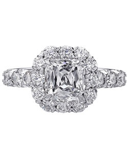 Christopher Designs engagement ring with Crisscut Cushion diamond center surrounded by round diamonds set in 18K White Gold.