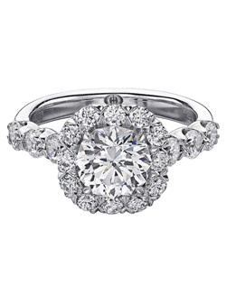 Christopher Designs engagement ring with Crisscut Round diamond center surrounded by round diamonds set in 18K White Gold.