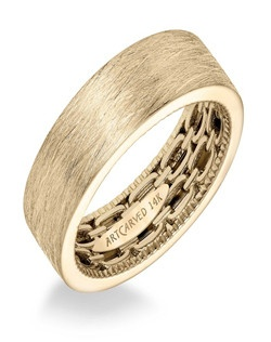 Men's wedding band with double chain link pattern and coin edge , Wire finish and flat profile.