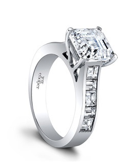 (Available in PLAT,18K)- CENTER ASSCHER 8.0mm, SIDE DIA 4BAG=0.40ct, 6SQ=0.95ct. Price excludes center stone.