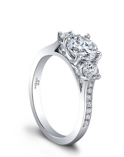 (Available in PLAT,18K,14K)- CENTER 5.2mm, SIDE DIA 18RBC=0.11ct. Price excludes center stone.