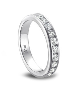 Vibhor 11 Stone Channel Set Band with Rounded Sides.